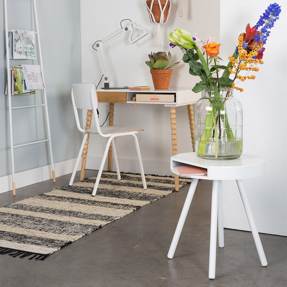 Zuiver Bijzettafel Hide And Seek Wit.Zuiver Hide Seek Lounge Side Table With Open Storage In White