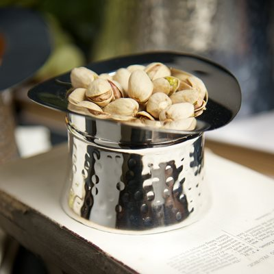 SILVER PLATED TOP HAT NIBBLES BOWL