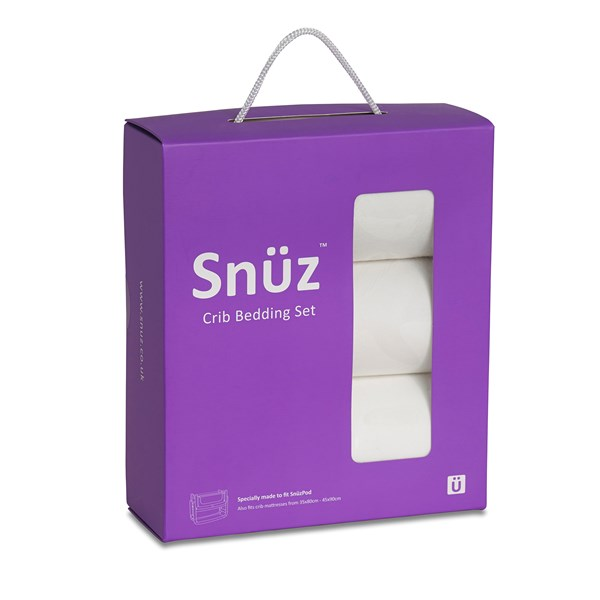 Snuz Crib 3 Piece Baby Bedding Set in White