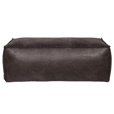 RODEO LEATHER POUFFE in Black