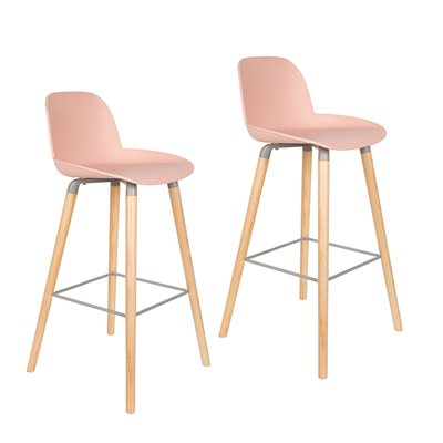 Zuiver Pair of Albert Kuip Retro Moulded Bar Stools in Powder Pink