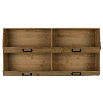 DUTCHBONE SOLID WOODEN WALL SHELF with Label Plaques