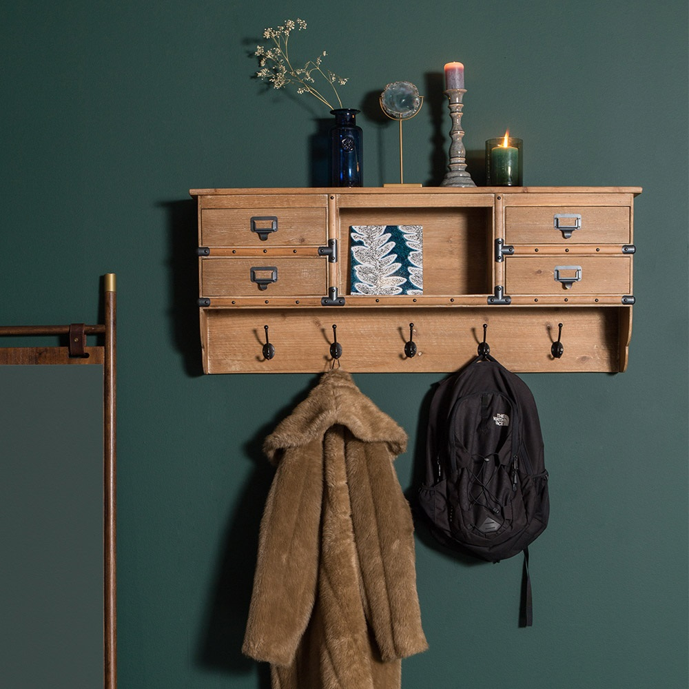 wall solid coat brand rack with shelf wood cuckooland dutchbone mounted amador