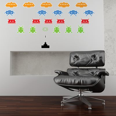 WALL STICKER in 'Space Invaders' design