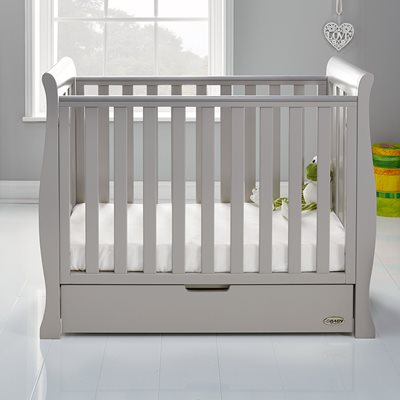 Obaby Stamford Space Saver Cot in Warm Grey with Optional Free Mattress