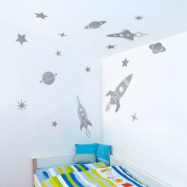 SPACE ROCKETS WALL STICKERS in Grey