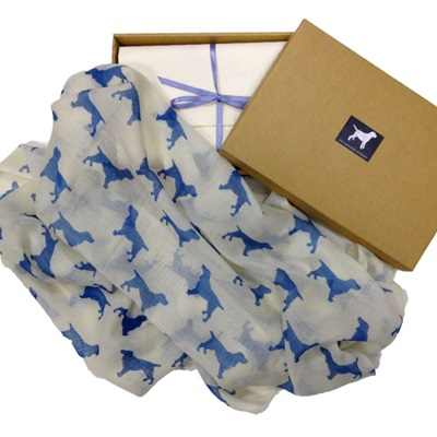 SPANIEL CASHMERE SCARF in Blue Print by The Labrador Company