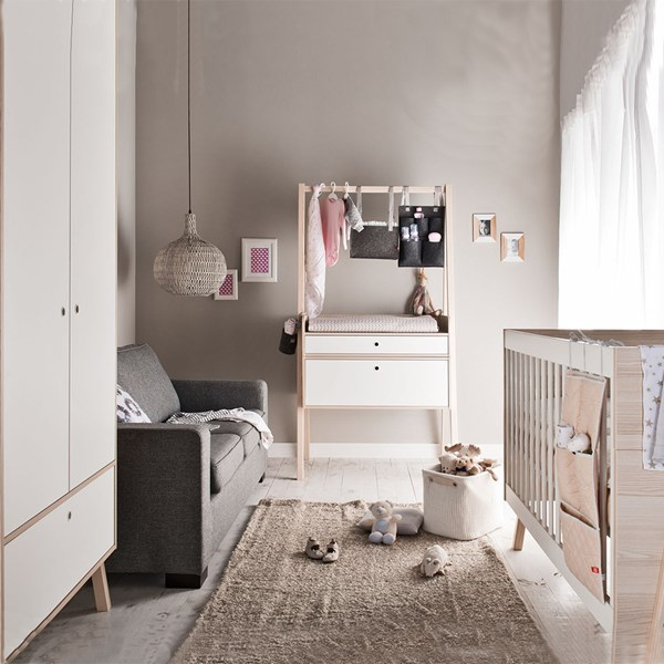 Vox Spot 3 Piece Nursery Set in White and Acacia