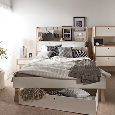 VOX SPOT DOUBLE BED WITH CABINET HEADBOARD in White and Acacia
