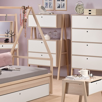 Bedroom Furniture Spot spot chest of three drawers in acacia - kids desks, drawers, wardrobes