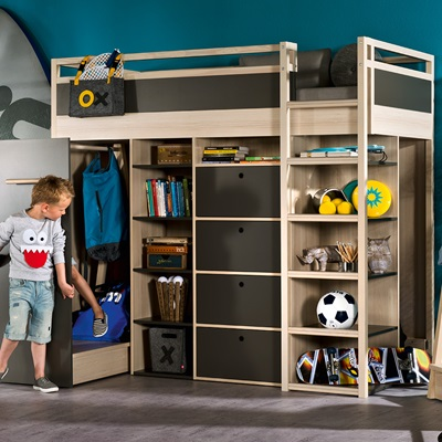 SPOT HIGH SLEEPER STORAGE KIDS BED in Acacia & Graphite