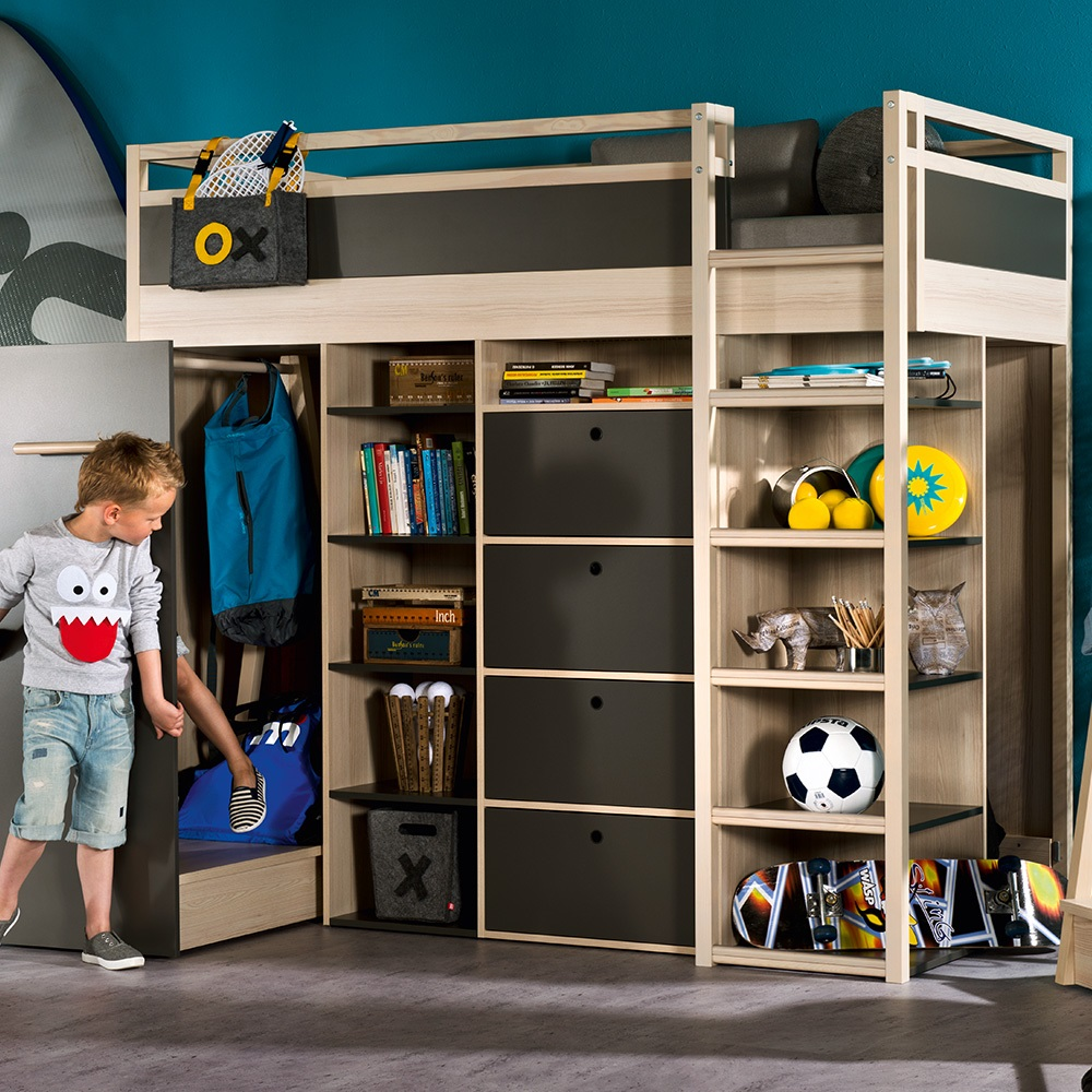 Spot High Sleeper Storage Kids Bed In Acacia Amp Graphite
