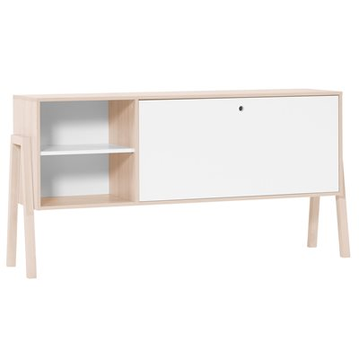 Vox Spot Buffet Cabinet with Shelves & Cupboard in Acacia & White