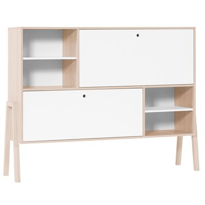 SPOT SIDEBOARD WITH SHELVES & 2 CUPBOARDS in Acacia and White