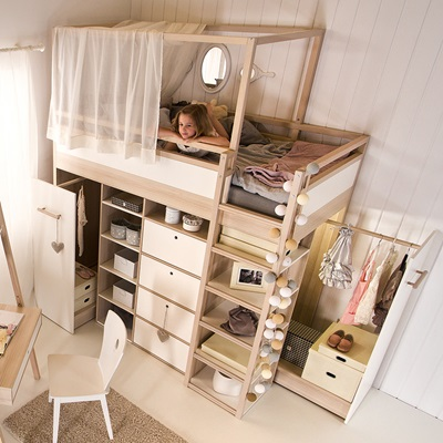 Spot Highsleeper Storage Kids Bed in Acacia Single Beds