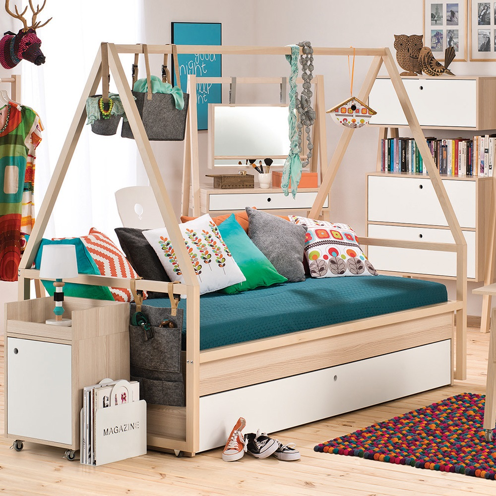 Vox spot kids tipi bed frame with trundle drawer in for Childrens single beds ikea