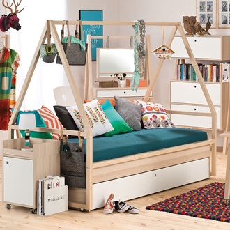 Spot Kids Tipi Bed Amp Trolley With Trundle Drawer