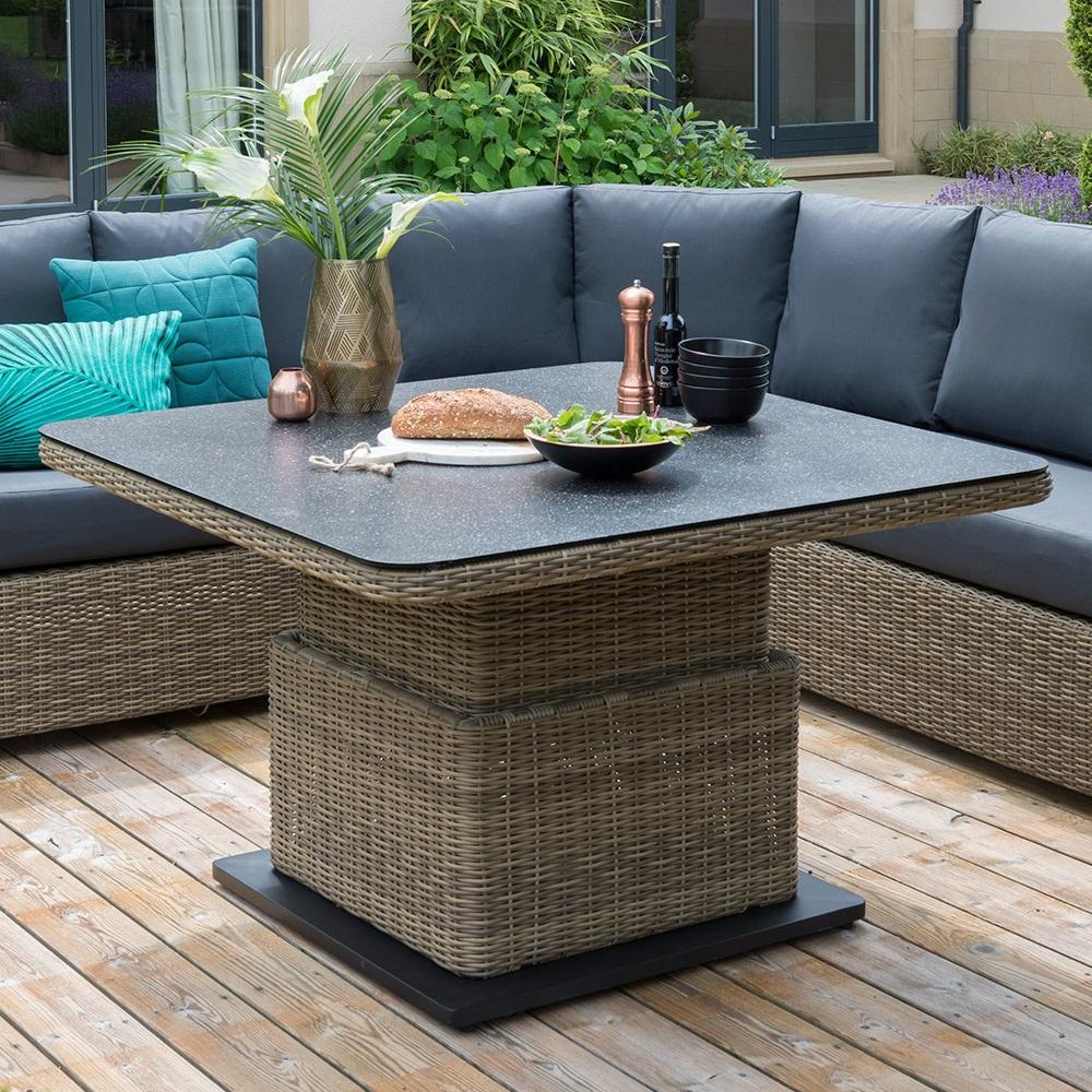 Aya Outdoor Round Corner Sofa Set With Adjustable Height