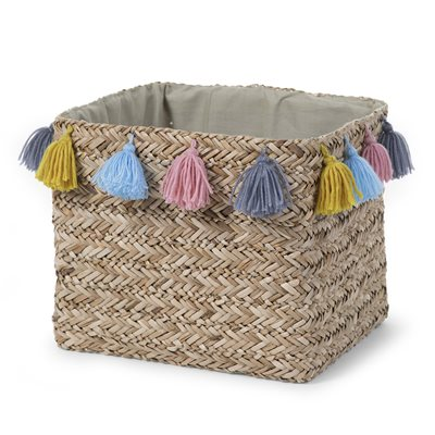 SQUARE WOVEN STORAGE BASKET with Tassels