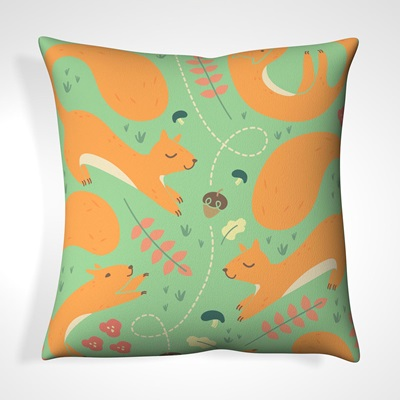 CUSHION in Mint Green Happy Squirrel Design
