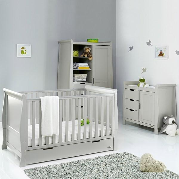 Obaby Stamford Sleigh Cot Bed 3 Piece Nursery Set in Warm Grey
