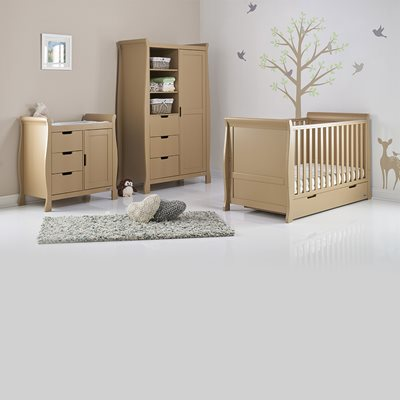 STAMFORD COT BED 3 PIECE NURSERY SET in Iced Coffee by Obaby
