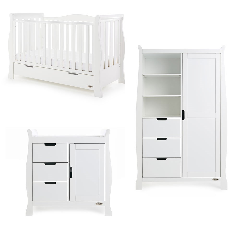 Obaby Stamford Luxe Cot Bed 3 Piece Nursery Furniture Set In Various Colours Cuckooland