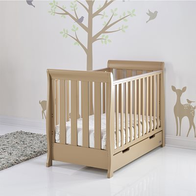 STAMFORD MINI COT BED in Iced Coffee by Obaby