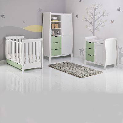 STAMFORD MINI COT BED 3 PIECE NURSERY SET in Pistachio Green with White by Obaby