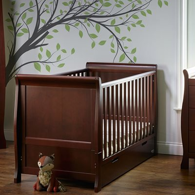 Obaby Stamford Sleigh Cot Bed in Walnut