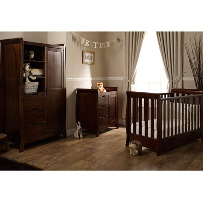 STAMFORD MINI COT BED 3 PIECE NURSERY SET in Walnut by Obaby