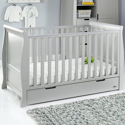 Obaby Stamford Sleigh Cot Bed in Warm Grey with Optional Free Mattress