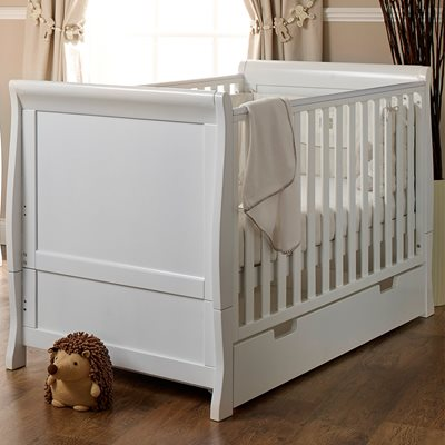 OBABY STAMFORD SLEIGH COT BED in White
