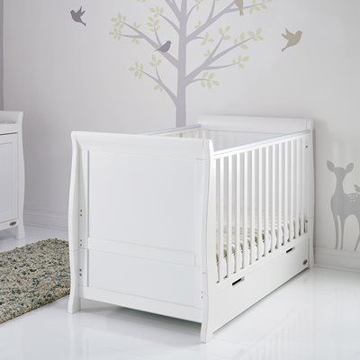 Obaby Stamford Sleigh Cot Bed in White with Optional Free Mattress