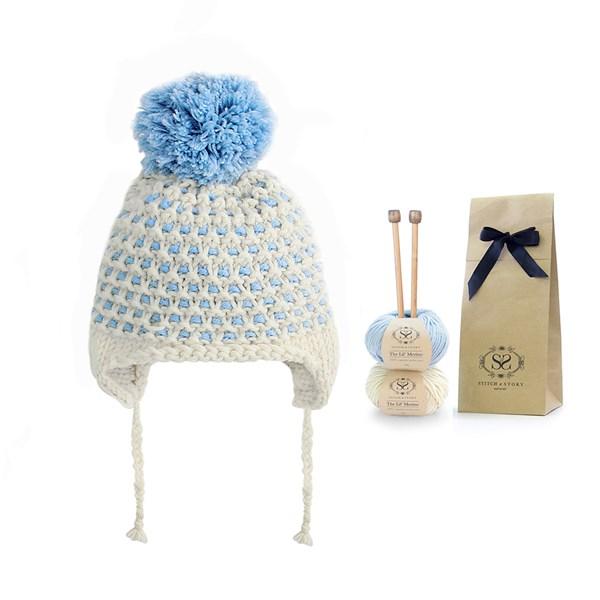 Blue and White Bobble Pom Pom Hat for Kids