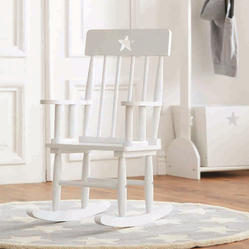 Star white wooden rocking chair kids concept cuckooland for White kids chair