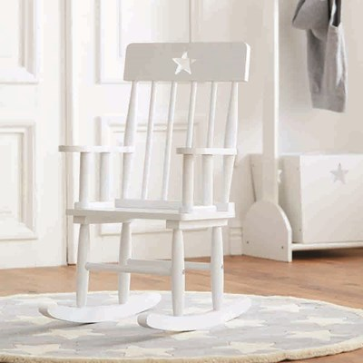 Star White Wooden Kids Rocking Chair ...