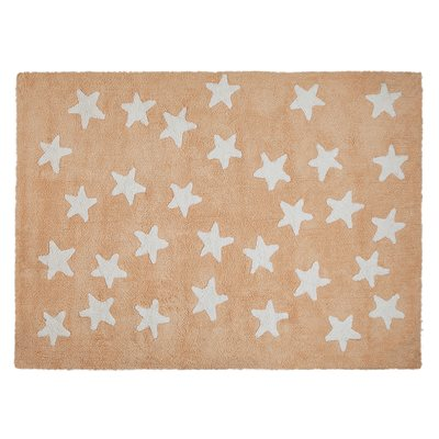 KIDS WASHABLE RUG in Nude Messy Star Design