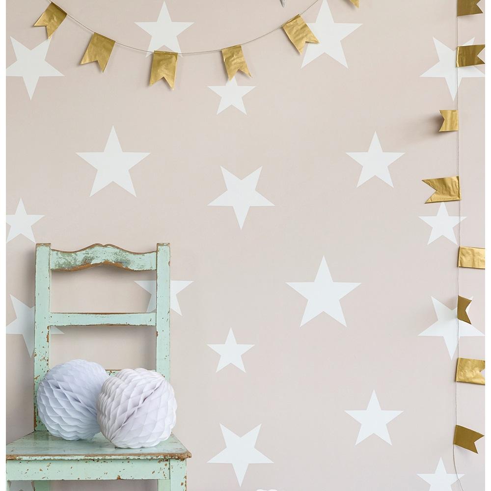 Kids star design wallpaper in blush white wall decor - Habitacion bebe papel pintado ...