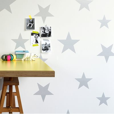 Kids Star Design Wallpaper in Silver & White