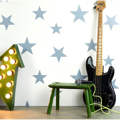 KIDS STAR DESIGN WALLPAPER in Stellar Blue and White