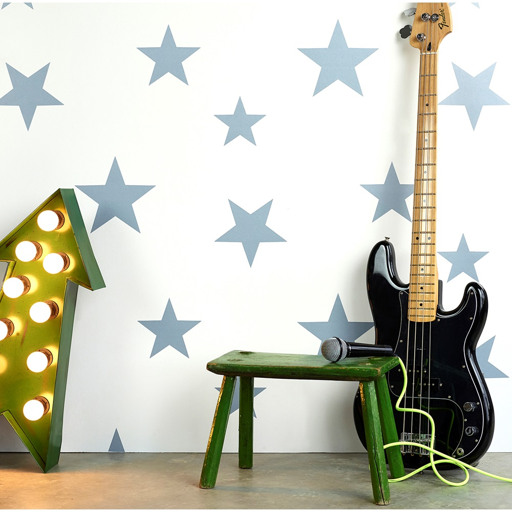 Kids Star Design Wallpaper In Stellar Blue And White - Hibou Home ...