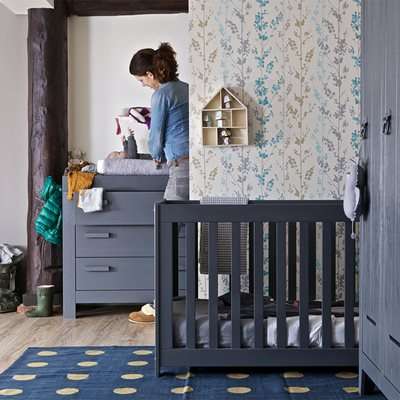 NEW LIFE BABY COT in Brushed Steel Grey by Woood