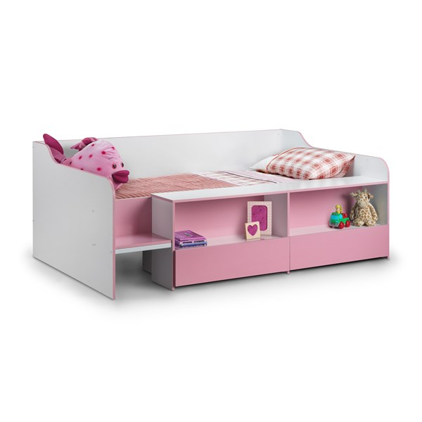 Low Sleeper Kids Bed in Pink with Storage