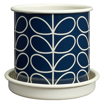 ORLA KIELY MEDIUM PLANT POT in Linear Stem Slate Grey Print