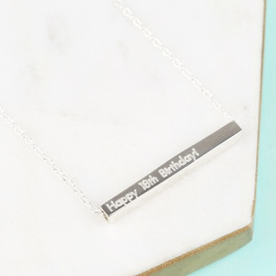 PERSONALISED HORIZONTAL BAR NECKLACE in Sterling Silver