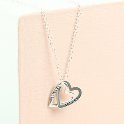 PERSONALISED INTERLOCKING HEARTS NECKLACE in Sterling Silver