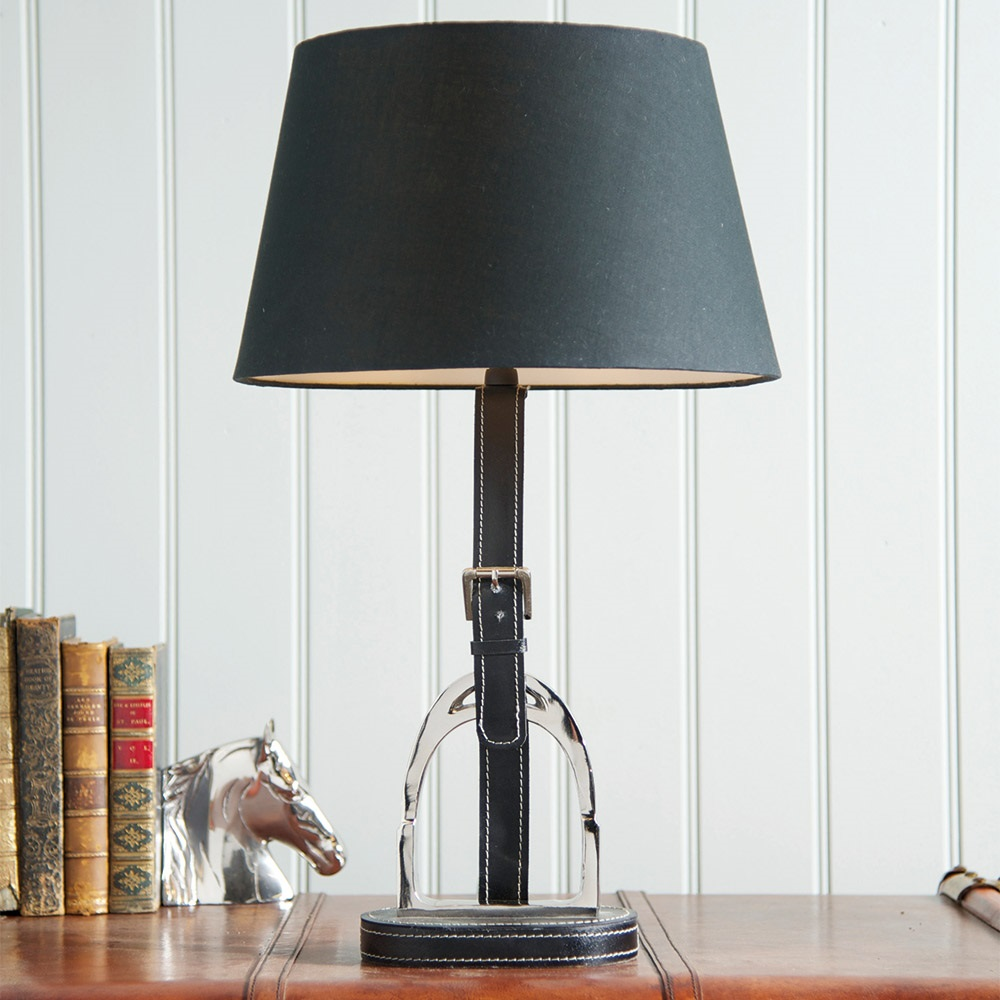 Culinary concepts stirrup traditional lamp with black leather stirrup equestrian style lamp shadeg aloadofball Choice Image