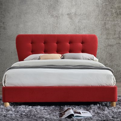 STOCKHOLM UPHOLSTERED BED in Red by Birlea