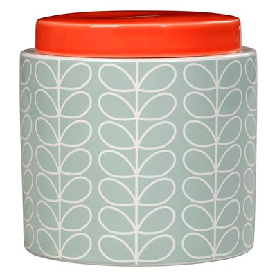 ORLA KIELY CERAMIC 1L STORAGE JAR in Linear Stem Duck Egg Blue Print